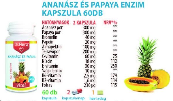 Dr. Herz Ananász Papaya kapszula 60 db * - </b><font color=red>JELENLEG nem rendelhető!</font>